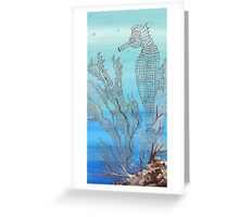 Seahorse in Moonglow Fan Coral Greeting Card
