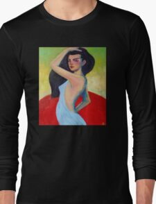 Modern Contemporary Impressionism Figure Painting Of a Beautiful Woman In Blue  Long Sleeve T-Shirt