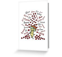Yellow Labrador Rain of Hearts Greeting Card