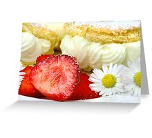 Lemon Cream Biscuit with Strawberries and Daisy Greeting Card