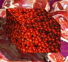Tomato Cube Floating over Raw Meat by GolemAura
