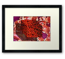 Tomato Cube Floating over Raw Meat Framed Print