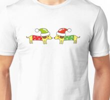 2 Christmas sausage dogs greetings Unisex T-Shirt