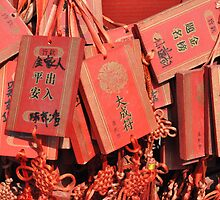 Red Confucius  Prayer Tablets by Adriana Owens