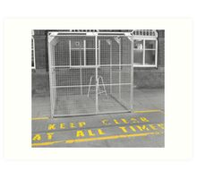 zimmer frame in cage mono Art Print