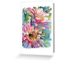 Cactus Flowers Watercolor on Yupo Greeting Card