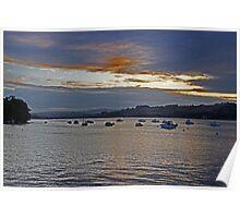 Sunset over Devon Valley Poster