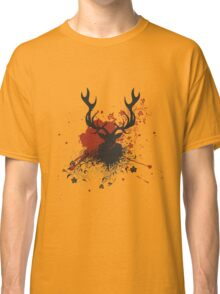 Grunge Stag with Floral Classic T-Shirt
