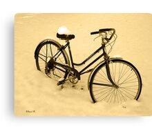 Snow Bicycle Canvas Print