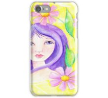 Whimiscal Girl with Long Purple Hair iPhone Case/Skin