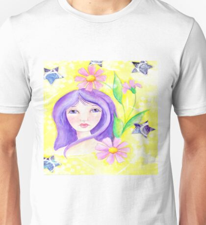Whimiscal Girl with Long Purple Hair Unisex T-Shirt