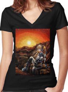 Music From Mars Women's Fitted V-Neck T-Shirt