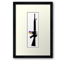 Machine Gun Silhouette - M-16 Edition Framed Print