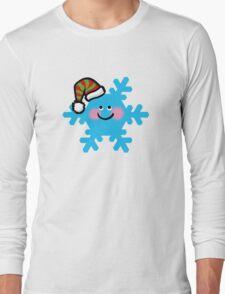 Merry Christmas blue snowflake cartoon Long Sleeve T-Shirt