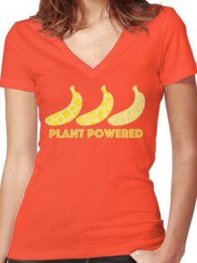 'Plant Powered' Vegan Banana Design Women's Fitted V-Neck T-Shirt