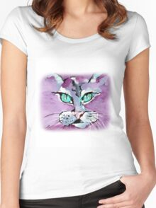 Mr. Purple Mika Cat - Animal Art by Valentina Miletic Women's Fitted Scoop T-Shirt
