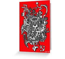 Grey Space Tiki In A Red Sky Greeting Card