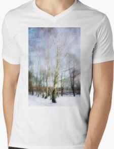 Winter Silver Birch Trees Mens V-Neck T-Shirt