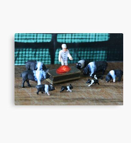 """Petunia had gathered the family around Porky's hospital bed when the doctor announced """"he's cured""""! Canvas Print"""