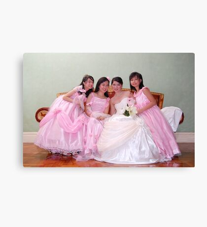 bride's maid, wedding and flower girl gown design 5 Canvas Print