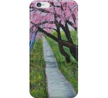Cherry Blossoms, Spring Cherry Trees, landscape painting, original art iPhone Case/Skin