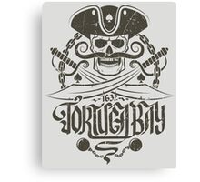 Pirate logo with skull Canvas Print