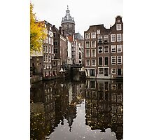 Amsterdam - Reflecting on Autumn Canal Houses Photographic Print