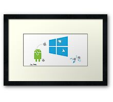 Android breaks the Window Framed Print