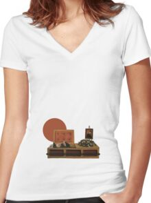 Cool cat funeral Women's Fitted V-Neck T-Shirt