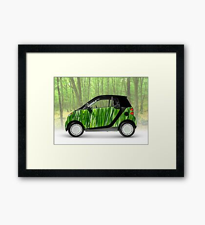 Green Mini Car Smart Fortwo in the Nature Framed Print