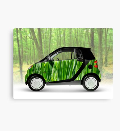 Green Mini Car Smart Fortwo in the Nature Canvas Print