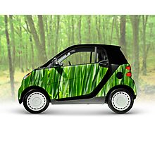 Green Mini Car Smart Fortwo in the Nature Photographic Print