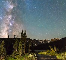 Milky Way Magic Longs Lake and the Indian Peaks by Bo Insogna