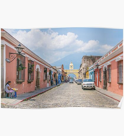 A Street in the Old Town Area of Antigua, Guatemala Poster