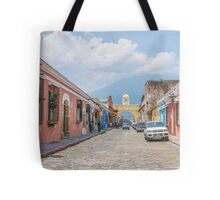 A Street in the Old Town Area of Antigua, Guatemala Tote Bag