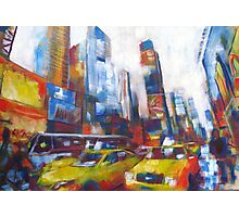 Times Square Yellow Taxi Cabs New York painting Photographic Print