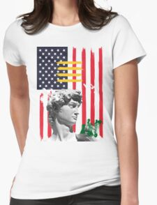 American Flag and David Womens Fitted T-Shirt