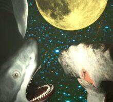 Three Shark Moon Sticker