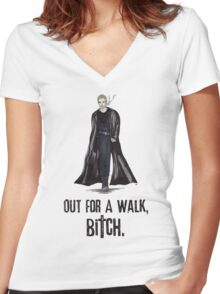 "Buffy The Vampire Slayer - Spike ""Out for a walk b#tch"" Women's Fitted V-Neck T-Shirt"
