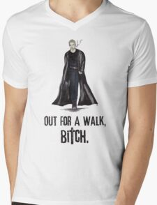 """Buffy The Vampire Slayer - Spike """"Out for a walk b#tch"""" Mens V-Neck T-Shirt"""