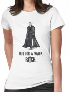 """Buffy The Vampire Slayer - Spike """"Out for a walk b#tch"""" Womens Fitted T-Shirt"""