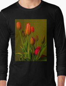 Tulips Against Green Long Sleeve T-Shirt