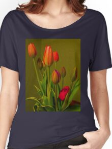 Tulips Against Green Women's Relaxed Fit T-Shirt