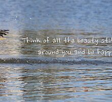 Great Blue Heron on Lost Lagoon Lake (with quote) by THurdCreations