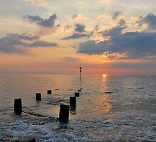 Groynes at sunset, Hunstanton Beach by ShroomIllusions
