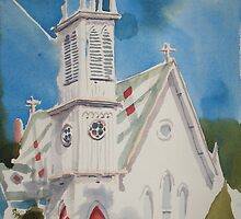 St. Paul's Episcopal Church with Jet Contrail by KipDeVore