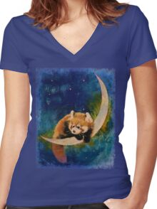 Red Panda Moon Women's Fitted V-Neck T-Shirt