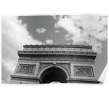 L'Arc de Triomphe en noir et blanc Poster