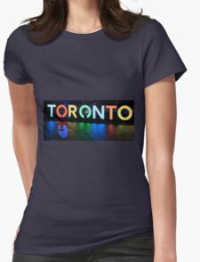 Toronto Sign All Lit Up With Umbrella Silhoette Womens Fitted T-Shirt