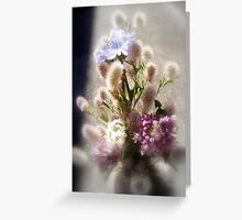 wildflower bouquet, focal black and white Greeting Card